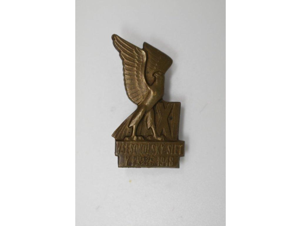 Účastnický odznak XI. Všesokolského sletu pro dorost 1948