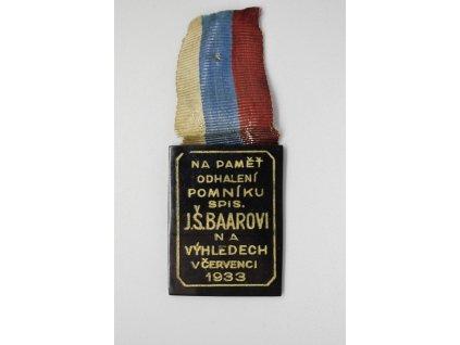 Na paměť odhalení pomníku spisovatele Jindřichovi Šimonovi Baarovi na Výhledech 1933