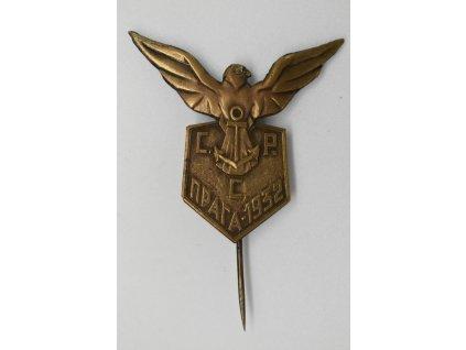 Sletový odznak srbských cvičenců při IX. Všesokolském sletu v Praze 1932