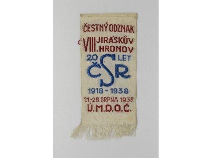Čestný odznak VIII. Jiráskův Hronov ÚMDOČ 1938