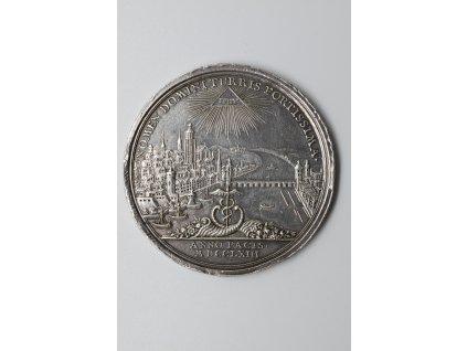 Medaile k příležitosti uzavření Hubertusburského míru, Frankfurt 1763, Oexlein