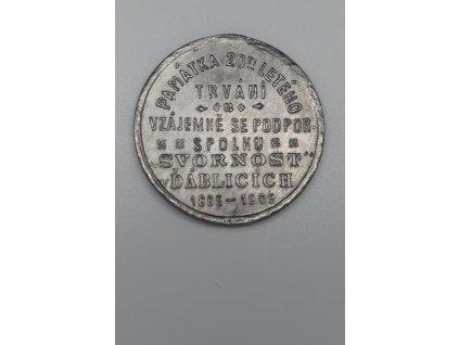 Památka 20 letého trvání vzájemně se podporujícího spolku Svornost v Ďáblicích 1905