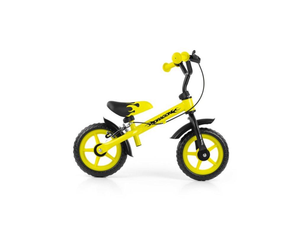 4574 detske odrazedlo kolo milly mally dragon s brzdou yellow