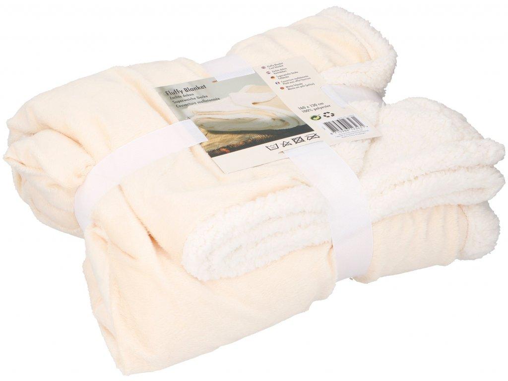 Plyšová deka s beránkem DELUXE - 130 x 160 cm - béžová