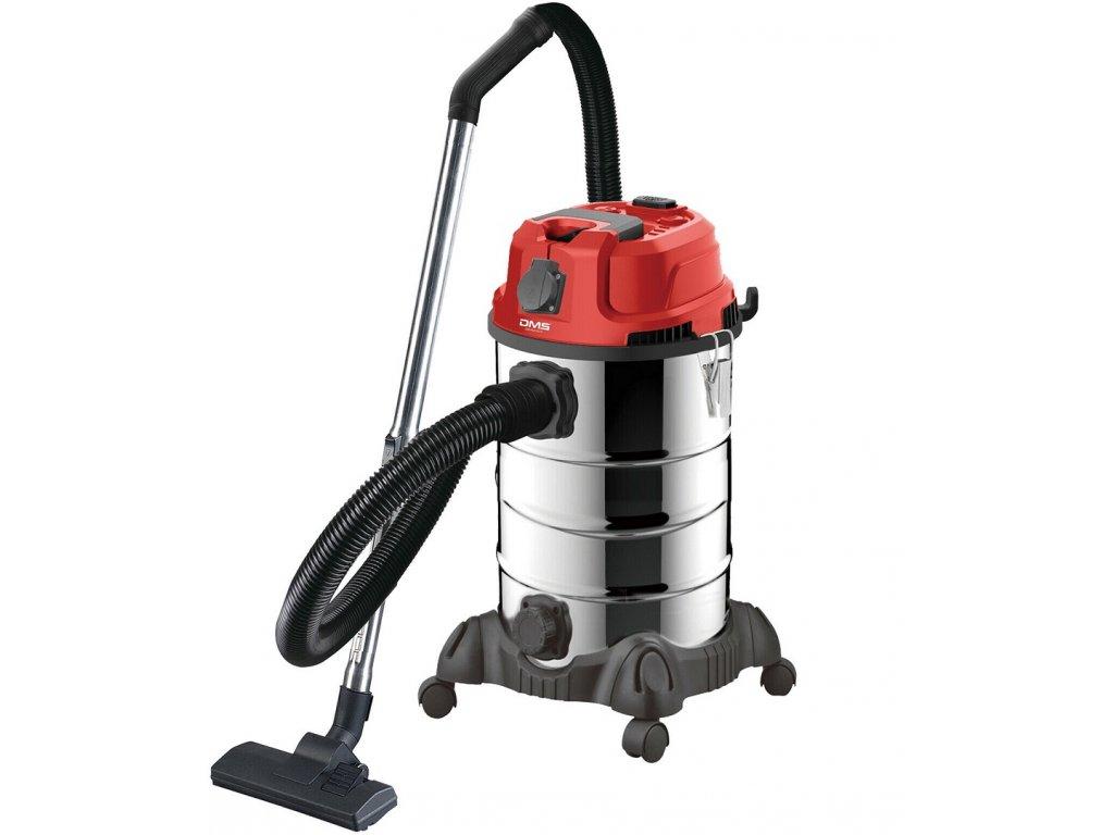 4v1 průmyslový vysavač DMS - 30l, 2300W, červený | mokré a suché vysávání | dmýchadlo | vysávání horkého popela | samočištění | se zásuvkou