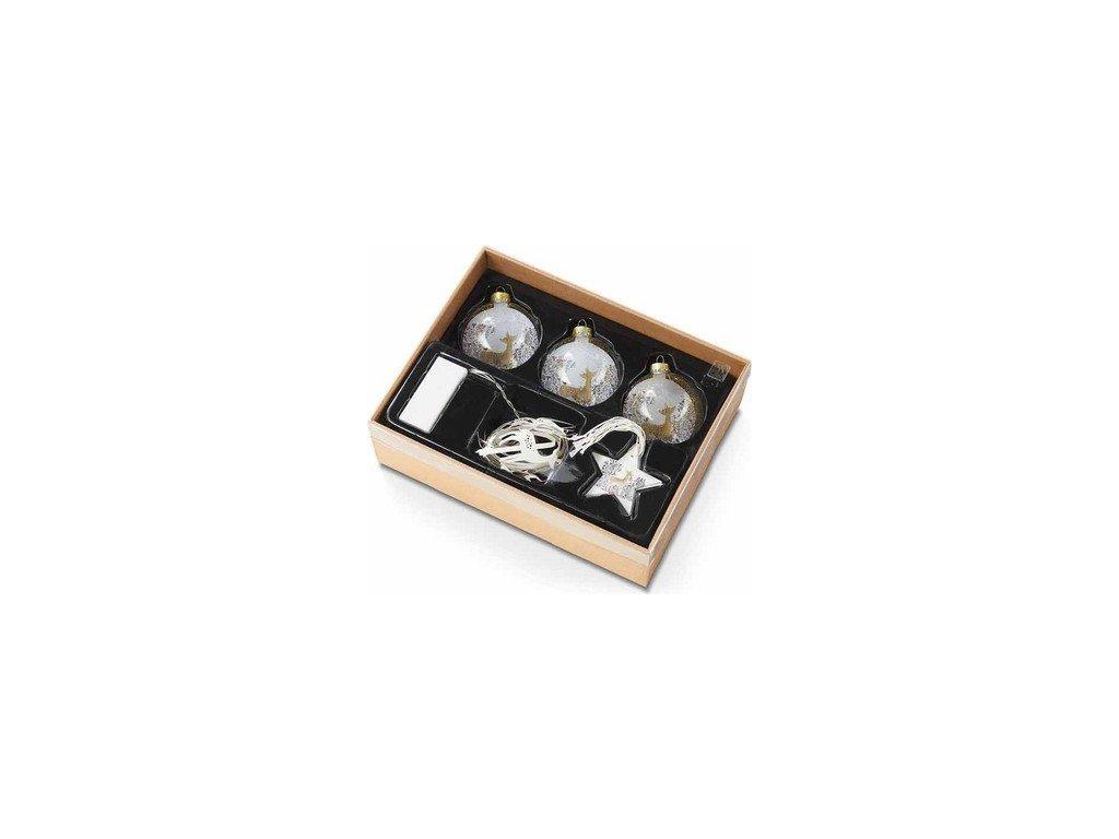 EmaHome - Dekorativní dárkový set |Vánoční ozdoby| s LED páskem
