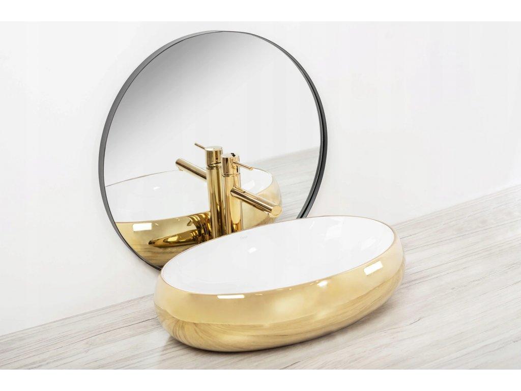 Keramické umyvadlo MELANIA - Zlatá, bílá