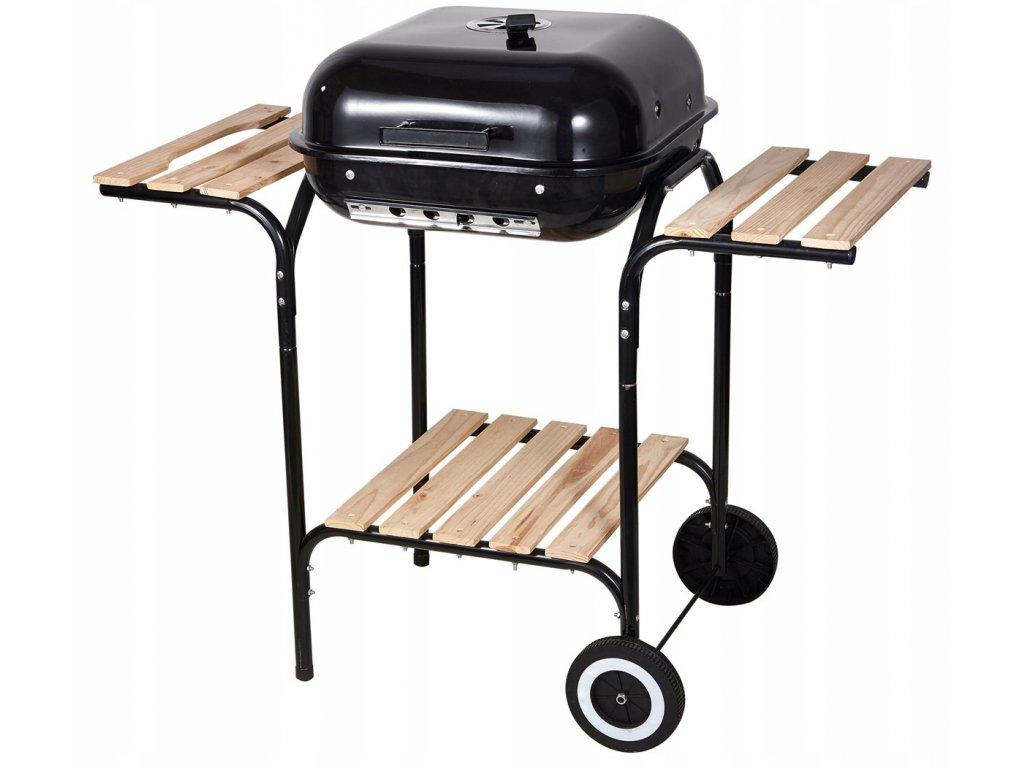 Zahradní gril BBQ 28018E / odklápěcí kryt / na kolech