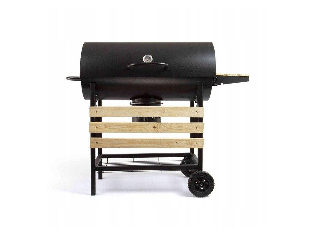 Zahradní gril BBQ-SK29A / odklápěcí kryt / na kolech / teploměr / nádoba na popel