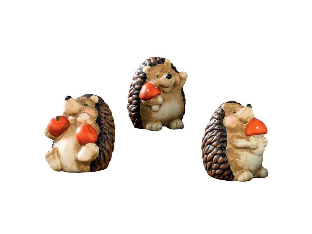 Keramická podzimní dekorace EmaHome - Tři ježci