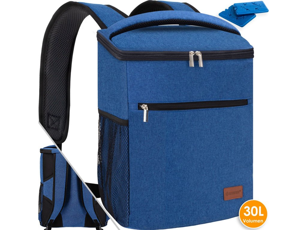 Chladicí batoh Kesser / piknikový vak / batoh na přepravu potravin / 30l / chladicí pytel / modrý