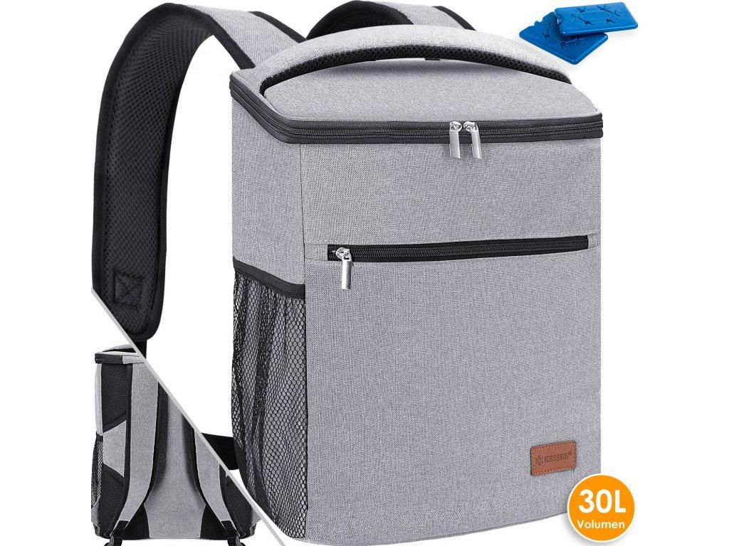 Chladicí batoh Kesser / piknikový vak / batoh na přepravu potravin / 30l / chladicí pytel / šedý
