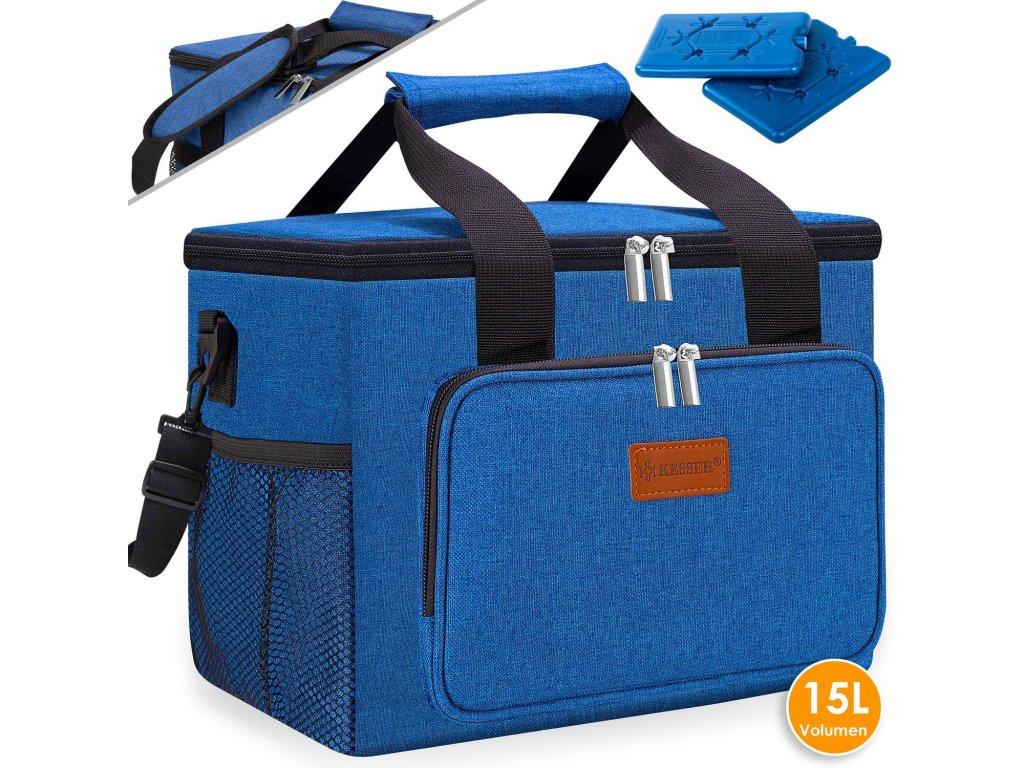 Chladicí box Kesser / piknikový košík / koš na přepravu potravin / 15l / chladicí taška / modrý