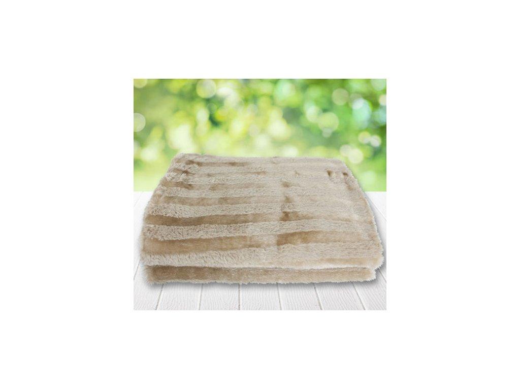 Plyšová deka 160 x 125 cm / Béžová/ Proužky