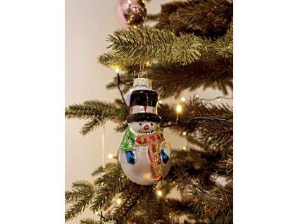 EmaHome vánoční ozdoba / skleněná / klasický sněhulák