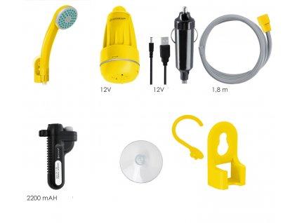 Kesser přenosná zahradní sprcha s baterií a nabíjecím kabelem / zahradní hadice 180 cm / 2200 mAh / 12V / s akumulátorovým čerpadlem / žlutá