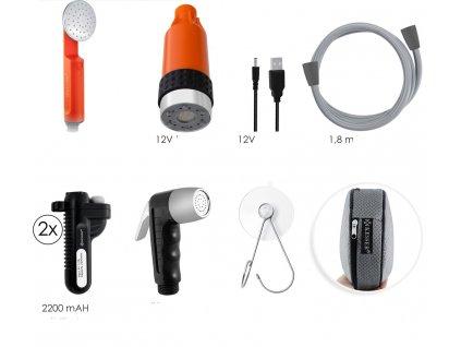 Kesser přenosná zahradní sprcha se 2 bateriemi a nabíjecím kabelem / zahradní hadice 180 cm / 2200 mAh / 12V / s akumulátorovým čerpadlem / oranžová / černá