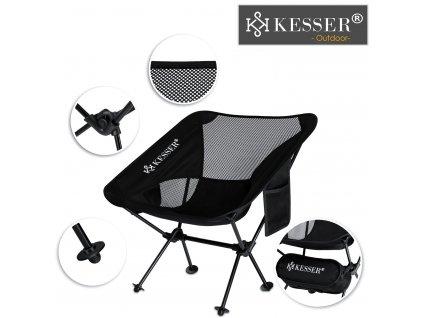 Kesser rybářská židle s držákem na nápoj / nosnost 120 kg / venkovní židle / černá