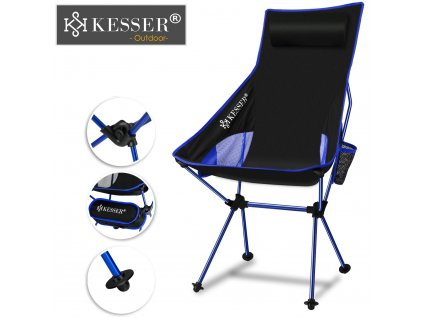 Kesser rybářská židle s držákem na nápoje / skládací stolička / nosnost 120 kg / táborová židle / modrá