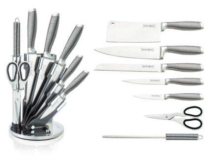 8dílná sada ocelových nožů a nůžek + ocílka Royalty Line RL-KSS700N - nerez