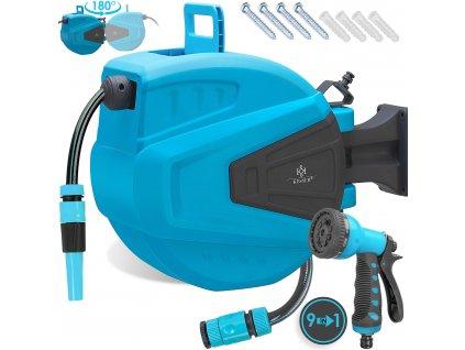 Kesser Automatický naviják s hadicí a multifunkční pistolí / naviják na vodní hadici / 15 m / modrý