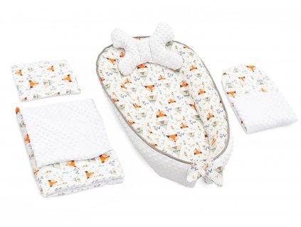 Hnízdečko s peřinkou pro miminko MINKY 5v1 - Bílá liška