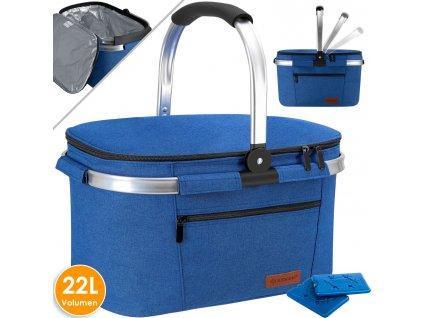 Chladící box Kesser K-KK4444 / piknikový košík / koš na přepravu potravin / 22 l / chladicí taška / modrá