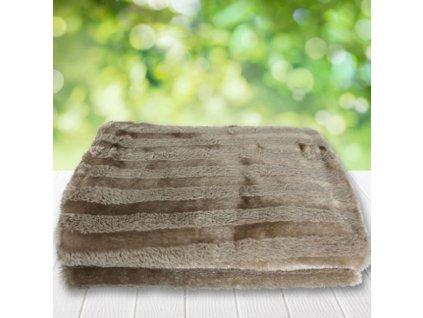 Plyšová deka 160 x 125 cm / Světle hnědá / Proužky
