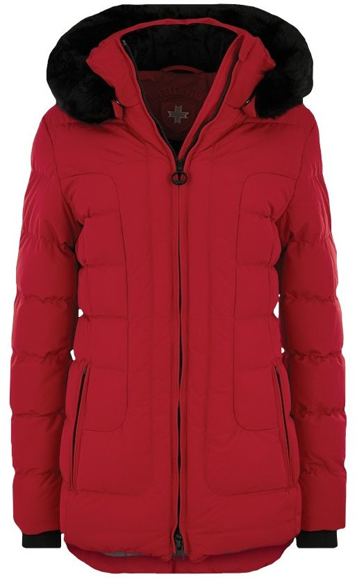 Polodlhá červená dámska zimná bunda s kapucňou a kožušinou Wellensteyn Belvitesse Belvedere Medium