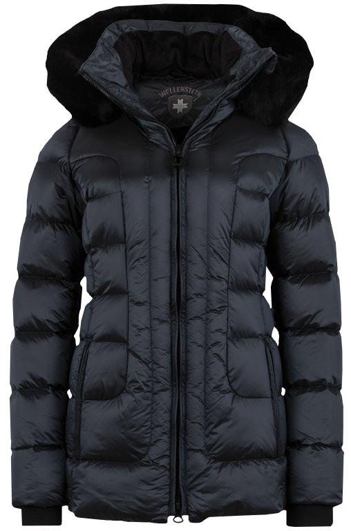 Polodlhá luxusná dámska zimná čierna bunda s kapucňou a kožušinou Wellensteyn Belvitesse Medium