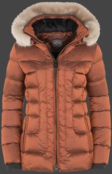 Polodlhá medená hnedá dámska zimná bunda s kapucňou a kožušinou Wellensteyn Belvitesse Belvedere Medium