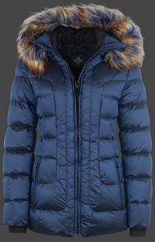 Polodlhá luxusná dámska zimná modrá bunda s kapucňou a farebnou kožušinou Wellensteyn Belvitesse Medium