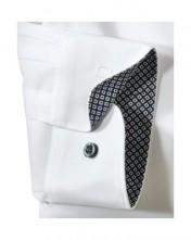 Modré rukávy s kockovaným vzorom na bielej pánskej košeli Olymp super slim fit