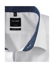 Biela pánska košeľa Olymp s modrým ozdobným golierom