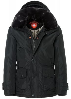 Zimná pánska bunda kožušina kapucňa čierna