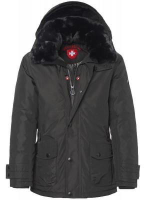 Šedá zimná pánska bunda kožušina kapucňa