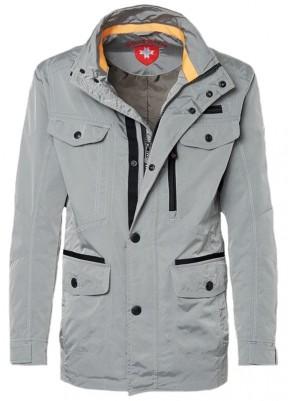 Sivá elegantná pánska jesenná bunda