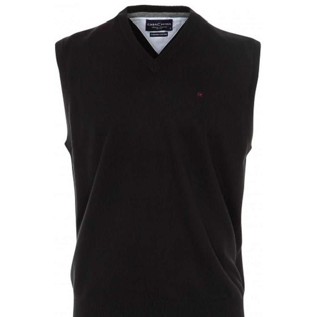 Moderná čierna pánska vesta Casa Moda s véčkovým výstrihom