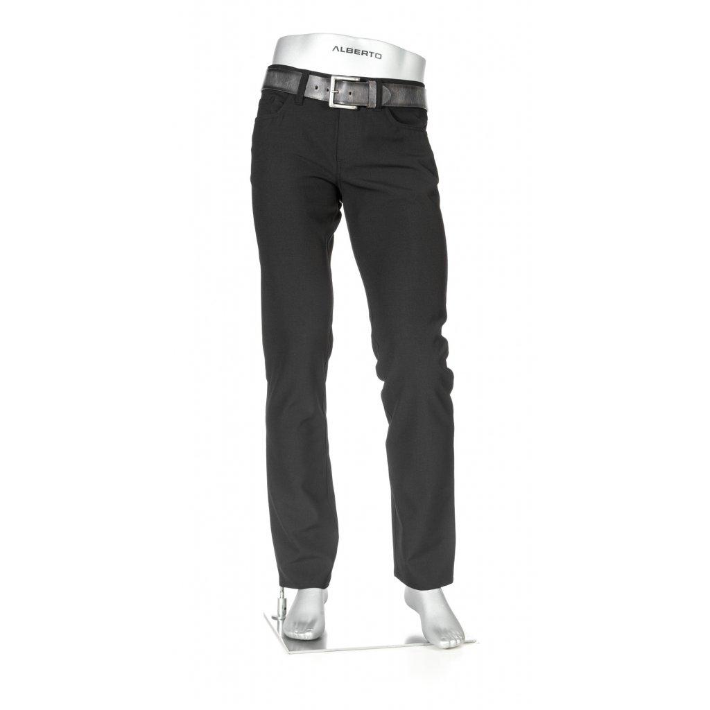 Päťvreckové čierne pánske biznis nohavice ALBERTO v zoštíhlenom strihu