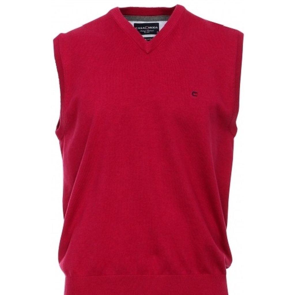 Moderná červená pánska vesta Casa Moda s véčkovým výstrihom