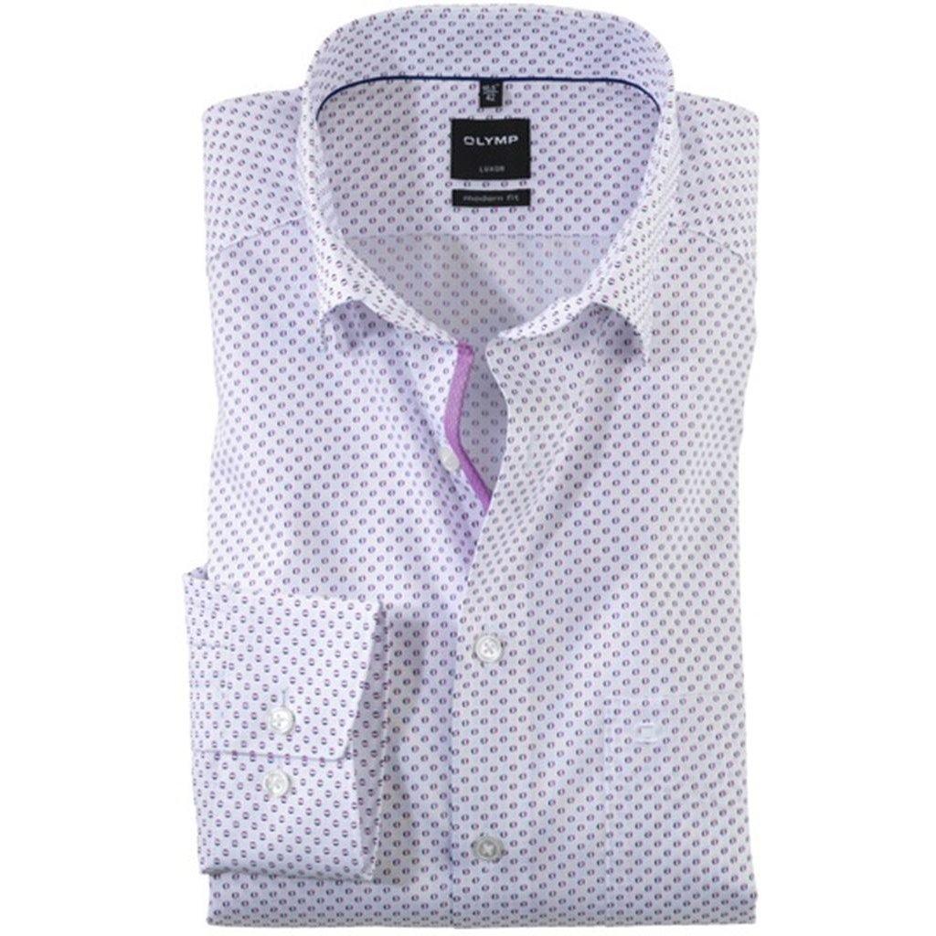 Mierne zoštíhlená fialová pánska košeľa Olymp s dlhým rukávom