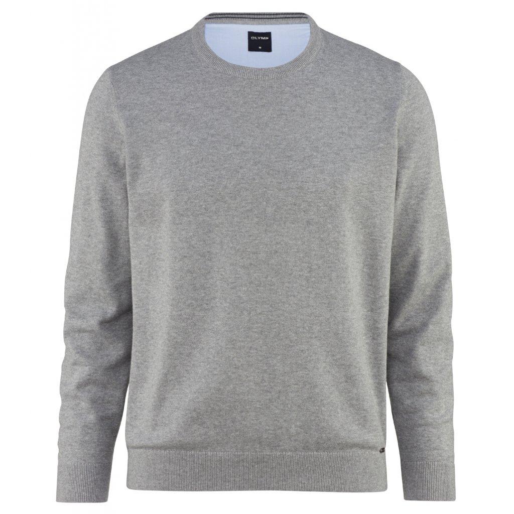 Bavlnený pánsky sivý pulóver OLYMP