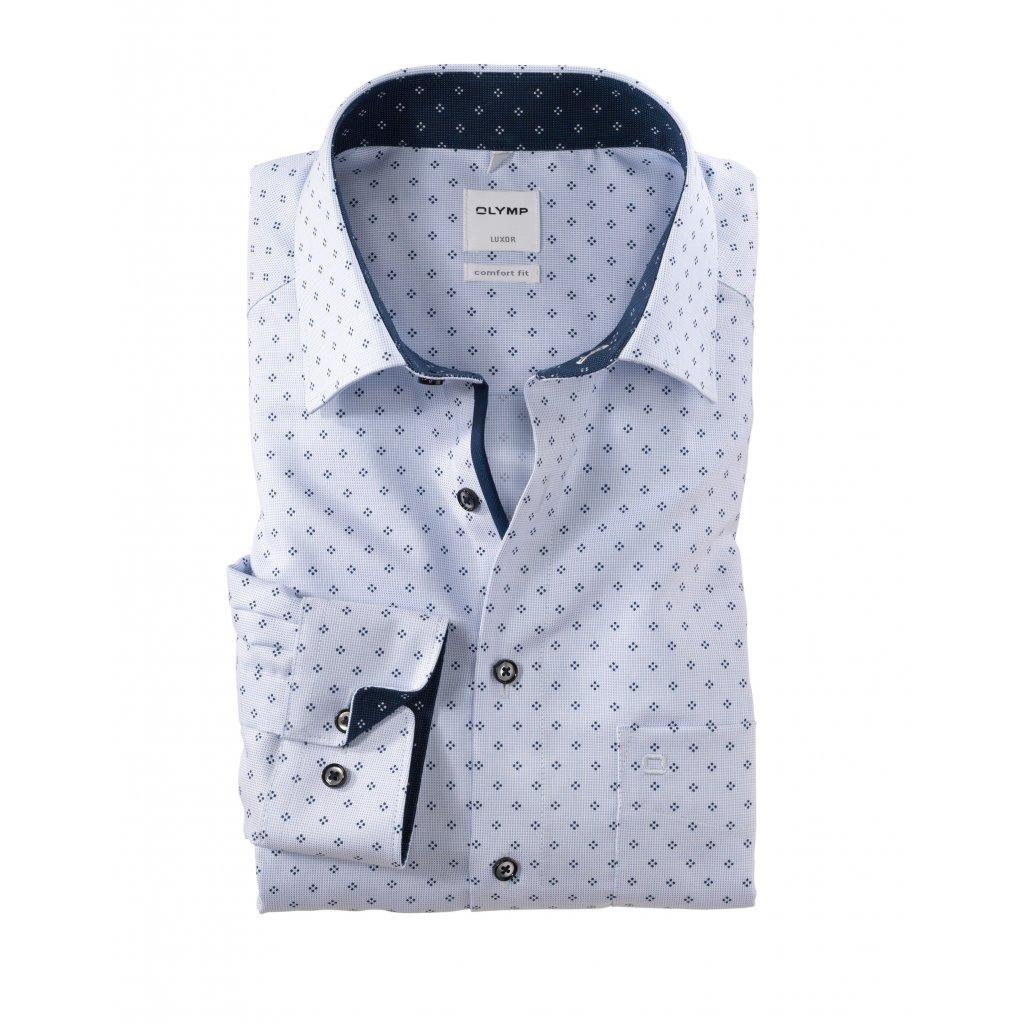 Vzorovaná bledomodrá košeľa OLYMP v rovnom comfort fit strihu