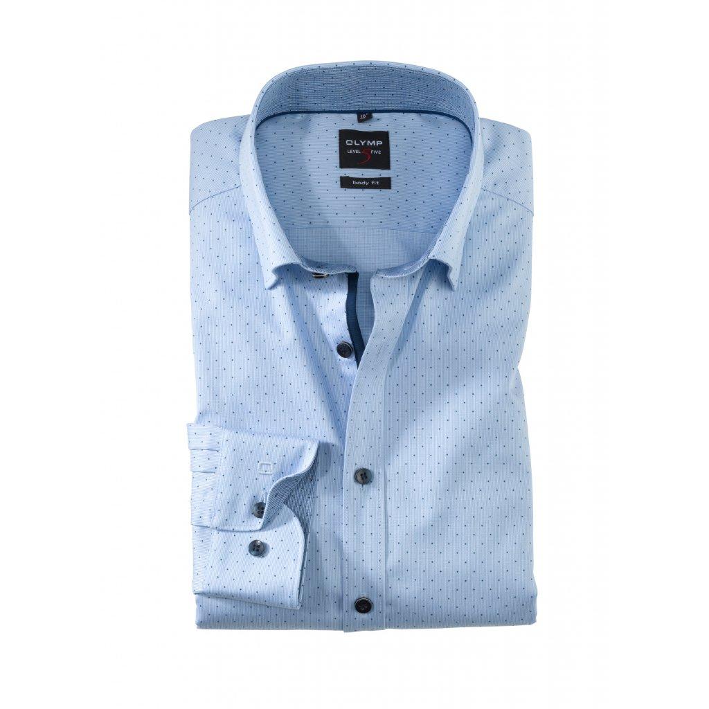 Bledomodrá košeľa s bodkami OLYMP v zoštíhlenom body fit strihu s predĺženým rukávom