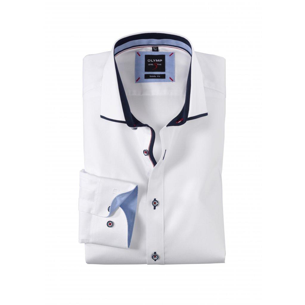 Štýlová biela košeľa OLYMP v zoštíhlenom body fit strihu predĺžený rukáv