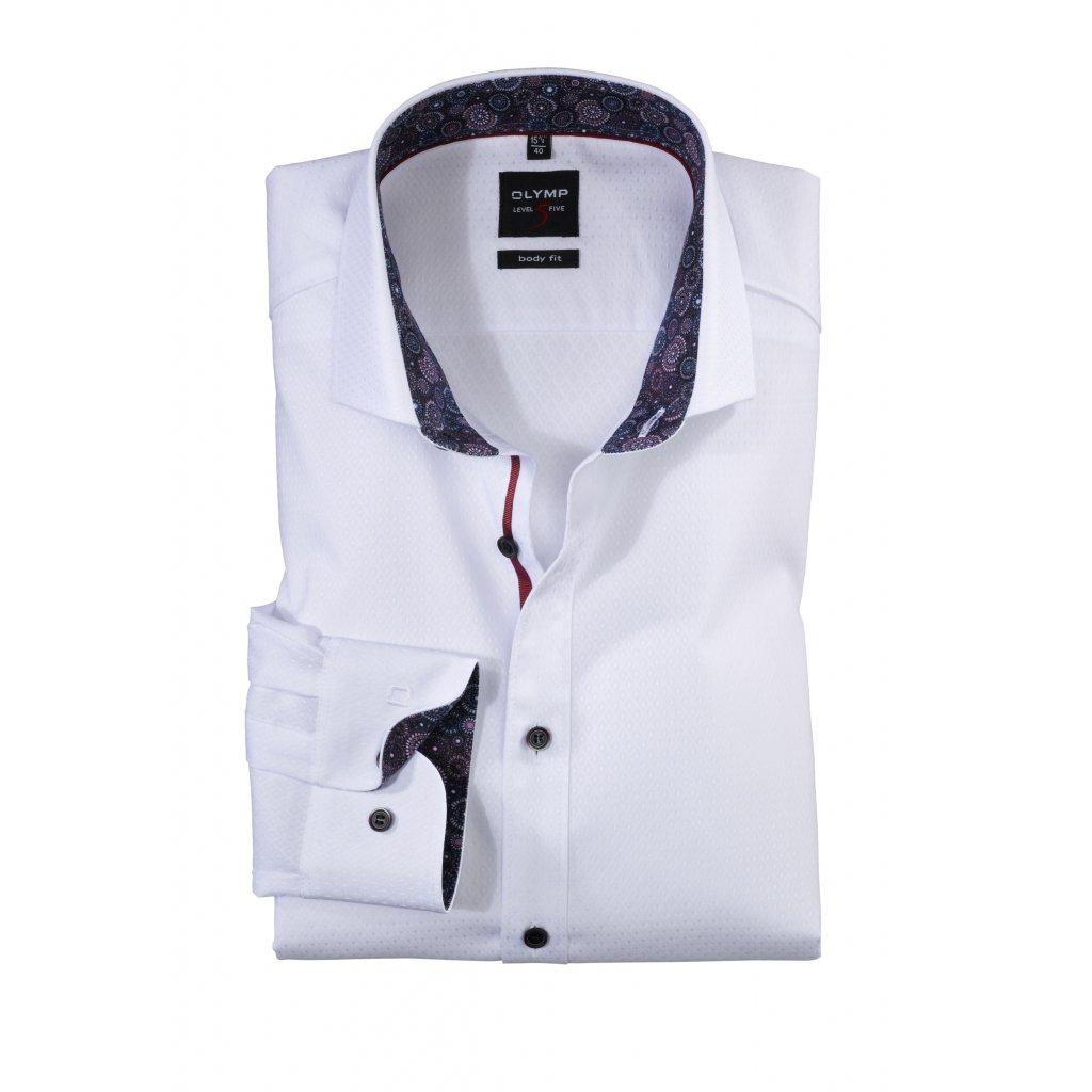 Biela košeľa s lemom OLYMP  predĺžený rukáv