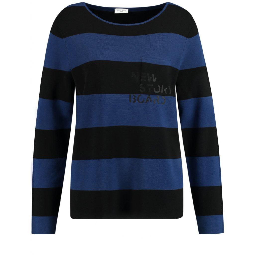 Dámsky modrý pulóver s pásikmi GERRY WEBER