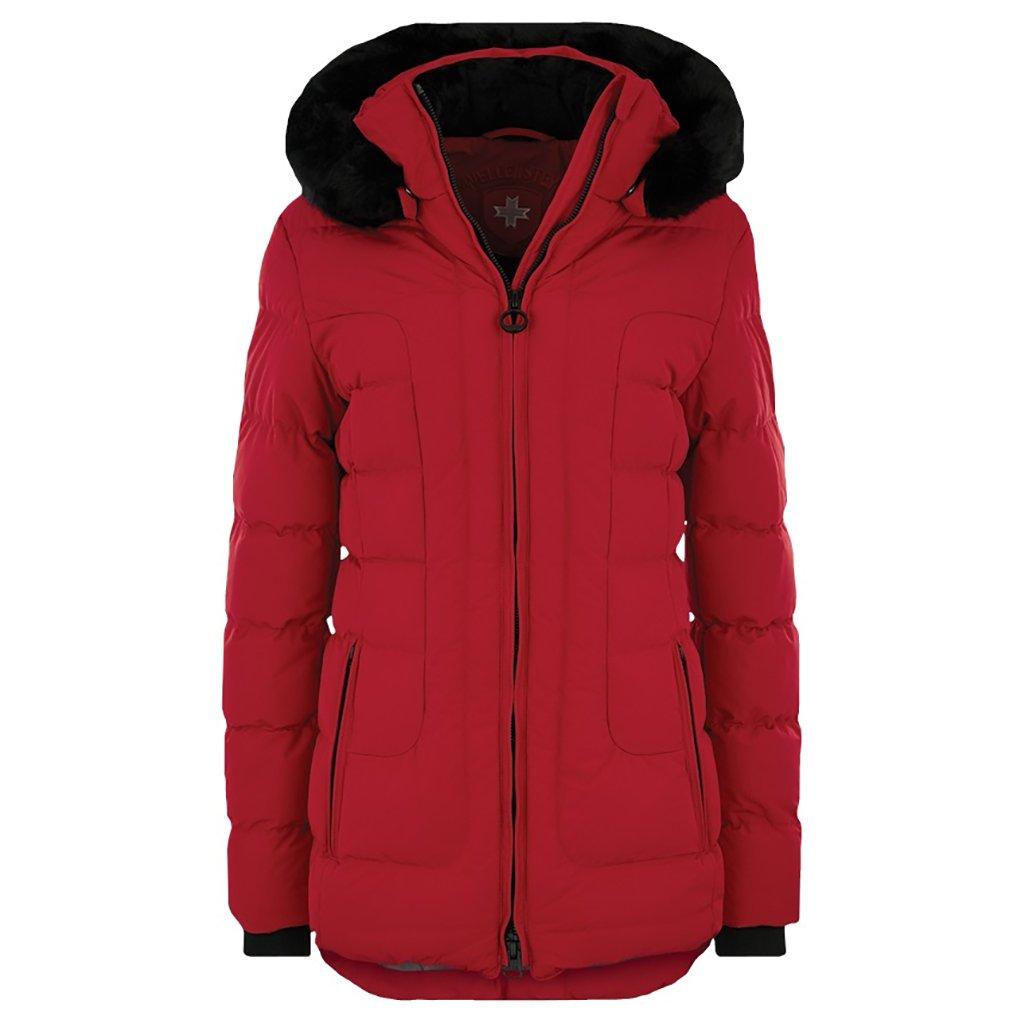 WELLENSTEYN Belvitesse Medium dámska červená bunda s kožušinou a odopínateľnou kapucňou