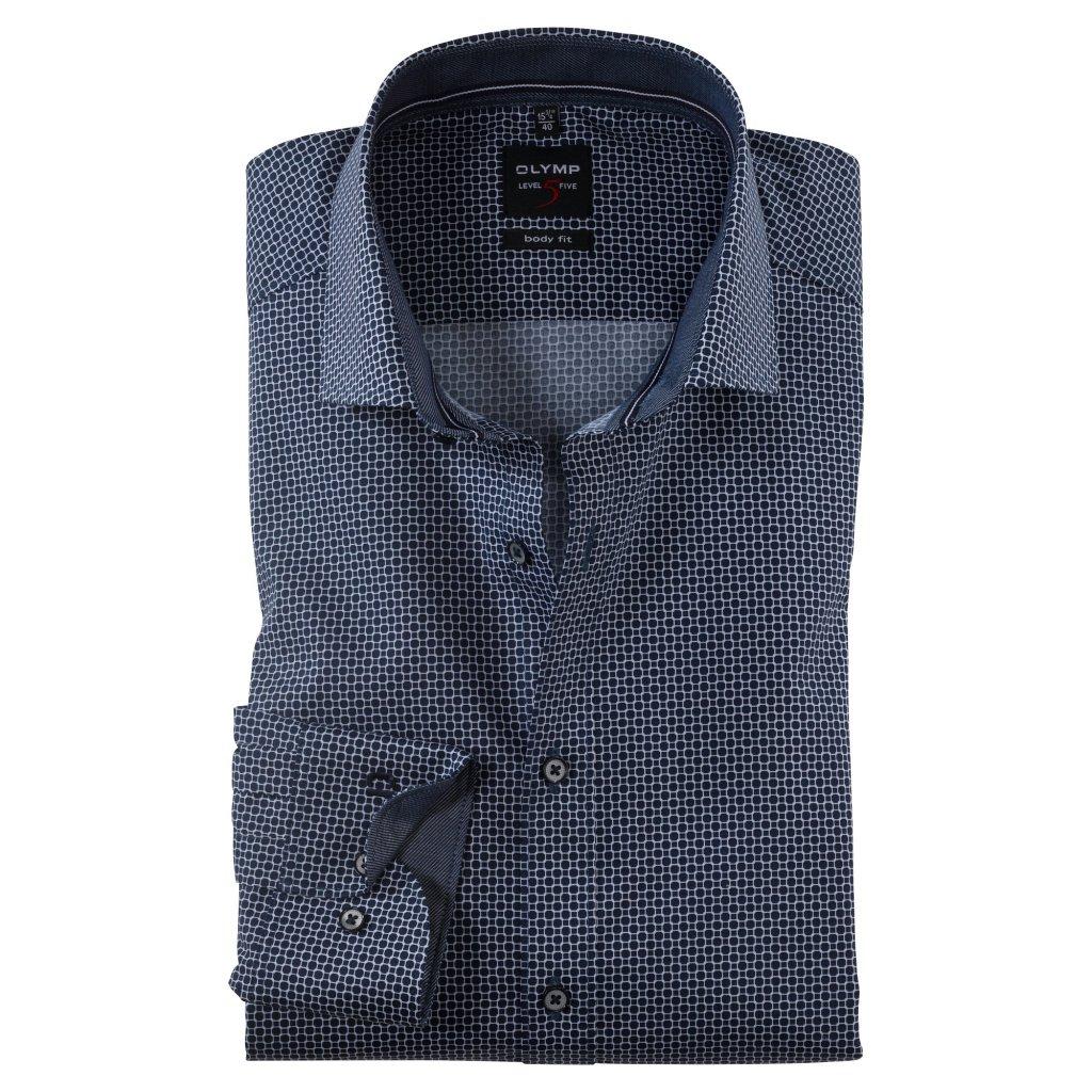 Vzorovaná modrá košeľa OLYMP, body fit