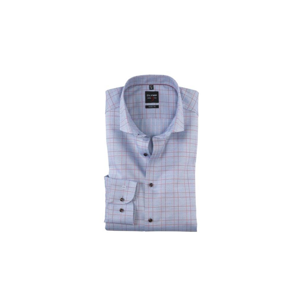 Modrá elegantná károvaná košeľa OLYMP, body fit